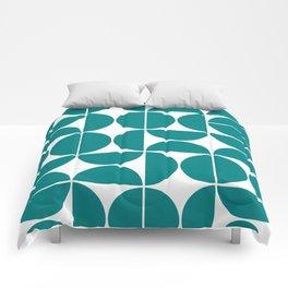Mid Century Modern Geometric 04 Teal Comforters