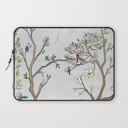 Chinoiserie Panels 1-2 Silver Gray Raw Silk - Casart Scenoiserie Collection Laptop Sleeve