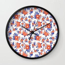 Florida floral orange and blue gators swamp varsity minimal university sports football fan Wall Clock
