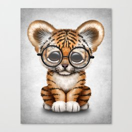 Cute Baby Tiger Cub Wearing Eye Glasses on White Canvas Print