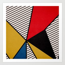 Primary Colors and Stripes Art Print