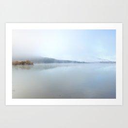 """Wild sunrise"". Foggy lake Art Print"
