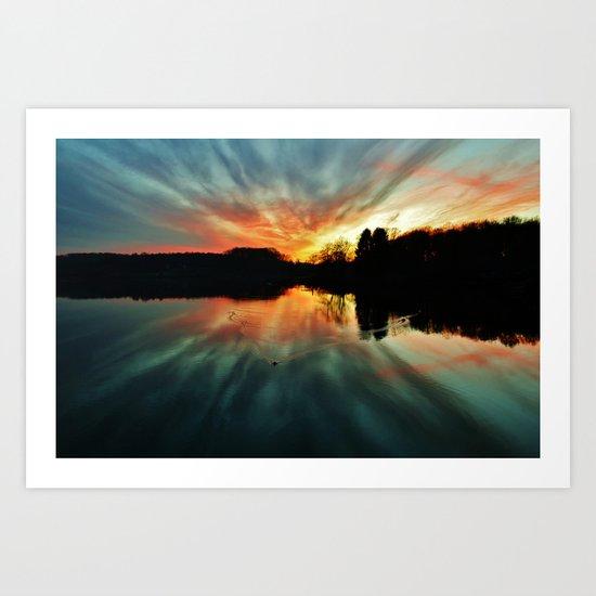 Magical evening at the lake Art Print