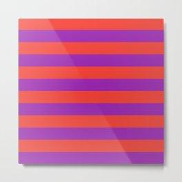 Even Horizontal Stripes, Red and Purple, L Metal Print