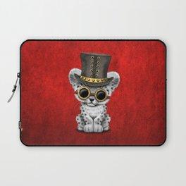 Steampunk Snow Leopard Cub Laptop Sleeve