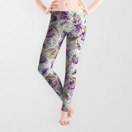 violet garden floral pattern Leggings