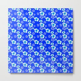 Blue Floral And Turtles Hawaiian Pattern Metal Print