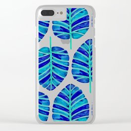Elephant Ear Alocasia – Blue & Turquoise Palette Clear iPhone Case