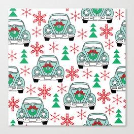 vintage christmas cars Canvas Print