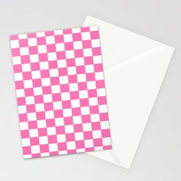 Checkers - Pink and White Stationery Cards