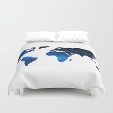 World Map Space Planet Blue Duvet Cover