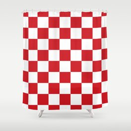 Checkered - White and Fire Engine Red Shower Curtain