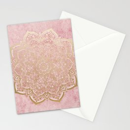 MOON DANCE MANDALA IN GOLD AND PINK Stationery Cards