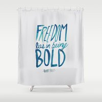 freedom Shower Curtains featuring Freedom  by Leah Flores