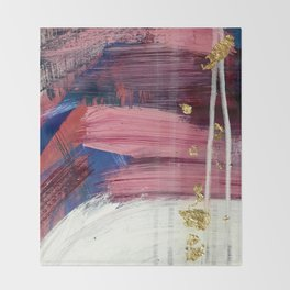 Los Angeles [3]: A vibrant, abstract piece in reds and blues and gold by Alyssa Hamilton Art Throw Blanket