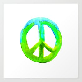 Watercolor Tie Dye Peace Sign Turquoise Lime on White Art Print