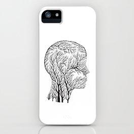 Head Profile Branches - Black iPhone Case