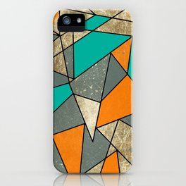 Modern Rustic Orange Teal and Gray Gold Geometric iPhone Case