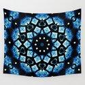 Blue Black Mosaic Kaleidoscope Mandala by costa