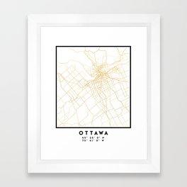OTTAWA CANADA CITY STREET MAP ART Framed Art Print