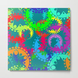 Texture of bright blue gears and laurel wreaths in kaleidoscope rainbow style. Metal Print