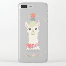 Floral Bust of a Llama Clear iPhone Case
