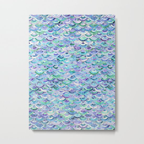 Marble Mosaic in Sapphire and Emerald Metal Print