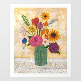 blue jar of flowers Art Print