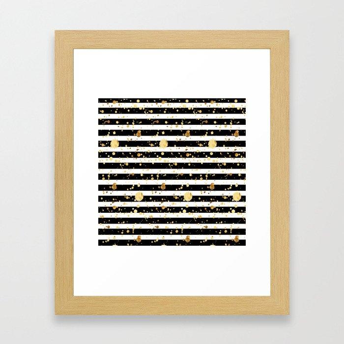Stripes & Gold Splatter - Horizontal Framed Art Print