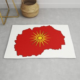 Macedonia Map with Macedonian Flag Rug