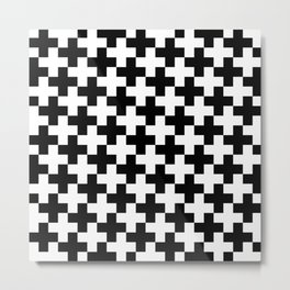 Black and White Crosses/Plus Signs Metal Print