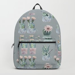 Potted Cactus Plants Gray Backpack