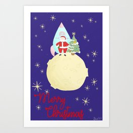 Retro space Santa Art Print