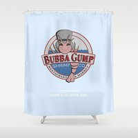 forrest gump Shower Curtains featuring STUPID IS AS STUPID DOES (Forrest Gump) by COMME UNE AFFICHE AU MUR