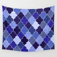 morocco Wall Tapestries featuring Morocco Blue by Jacqueline Maldonado