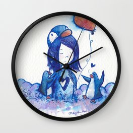 Blue PenguinGirl with Heart Hole and Her Penguins Wall Clock
