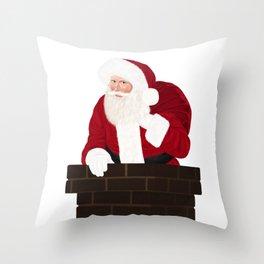 Santa Claus In Chimney Throw Pillow
