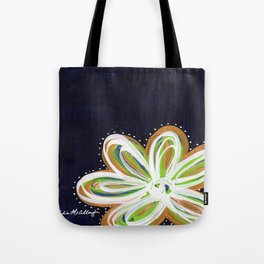 Navy and Gold Flower Tote Bag