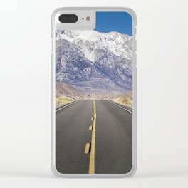 Snowcapped Sierras Highway 136 Clear iPhone Case