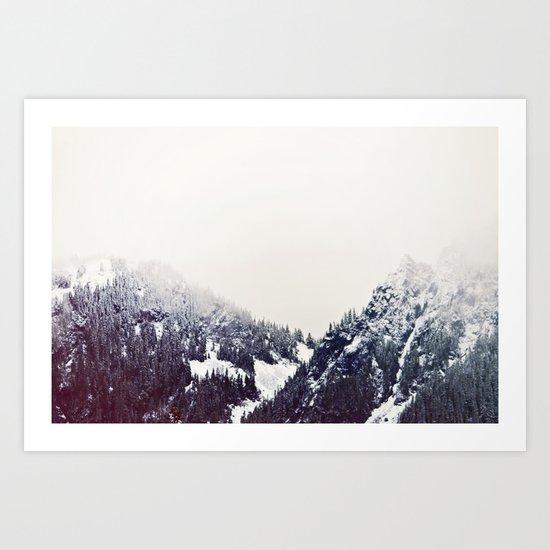 Vintage Snowy Mountain Art Print