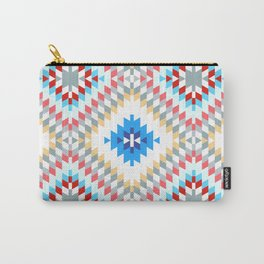 Colorful patchwork mosaic oriental kilim rug with traditional folk geometric ornament Carry-All Pouch