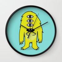 sasquatch Wall Clocks featuring Alien Sasquatch by Zak Rutledge