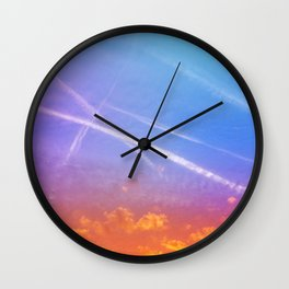 Blue Sky with Clouds on Fire at Sunset Wall Clock