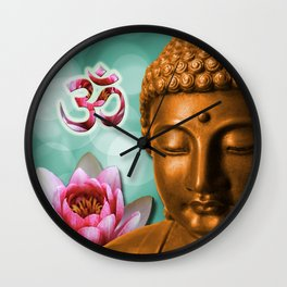 Buddha Lotus Flower & Crown Chakra Wall Clock