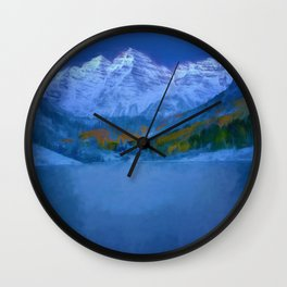Maroon Bells Early Morning Abstract Wall Clock