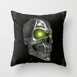 Skull with glowing green eyes Throw Pillow