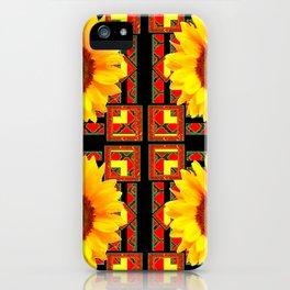 QUATRE WESTERN BLACK & RED ART DECO YELLOW SUNFLOWER iPhone Case