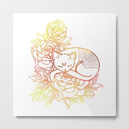 Colorful Mandala Cat Metal Print