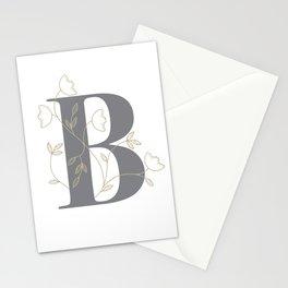 'B' Flower Illustration Stationery Cards