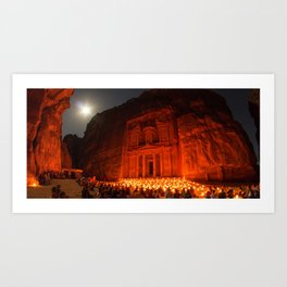 Candlelit Petra Ruins by Moonlight by Sylvain L. Art Print